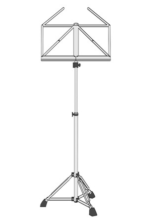 2d: 2d cartoon illustration of music stand Stock Photo