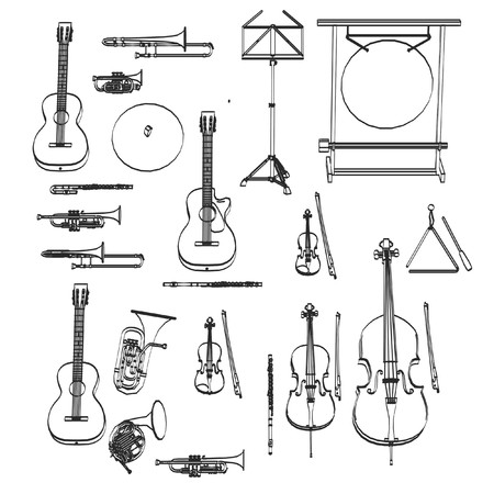 2d cartoon illustratie van muziekinstrumenten