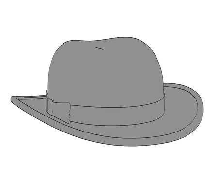 bowler hats: 2d cartoon illustration of hat