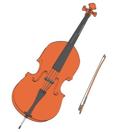 ensemble: 2d cartoon illustration of bass musical instrument Stock Photo