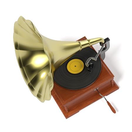 lp: 3d render of vintage gramophone
