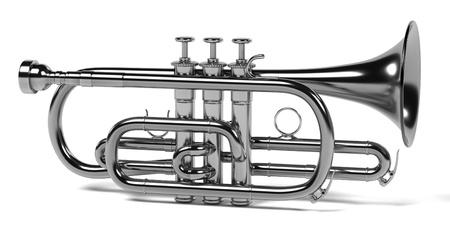 cornet: 3d rendering of cornet musical instrument Stock Photo