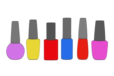 2d: 2d cartoon illustration of nail polishes