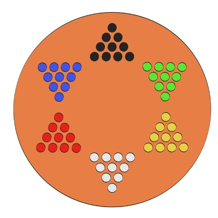2d: 2d cartoon illustraion of chinese checkers