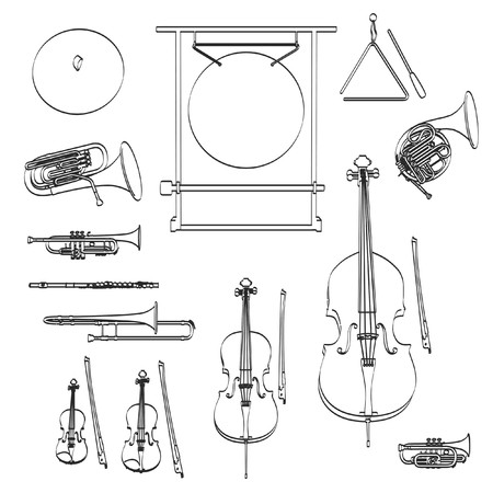 orchestra: 2d cartoon illustration of musical instruments - orchestra