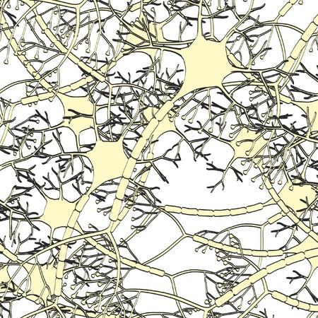 dendrites: 2d cartoon illustration of brain neuron