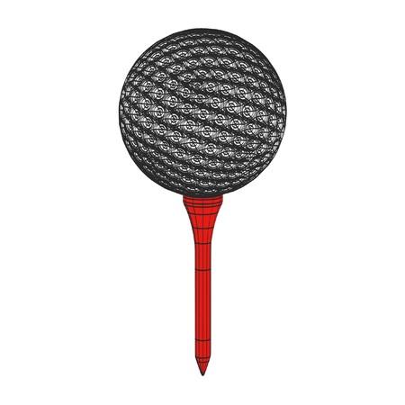 2d: 2d cartoon illustration of golf ball