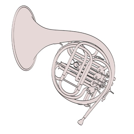 ensemble: 2d cartoon illustration of french horn