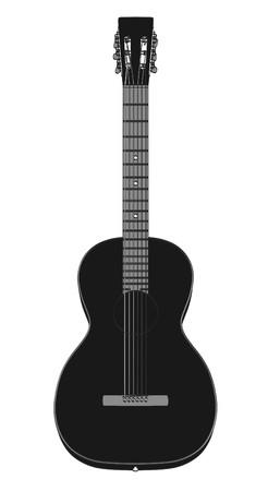 2d cartoon illustration of acoustic guitar