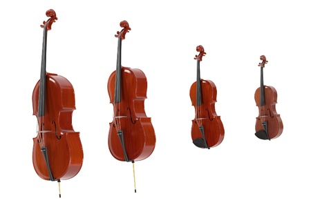 cellos: 3d rendering of string musical instruments Stock Photo