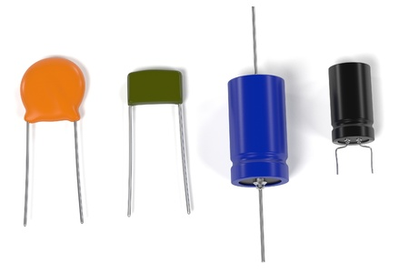 capacitor: 3d rendering of capacitor electronic parts