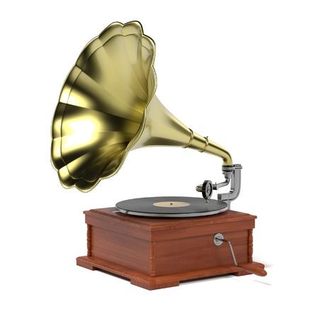 gramophone: 3d render of vintage gramophone