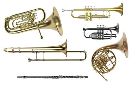 cornet: 3d rendering of brass musical instruments Stock Photo