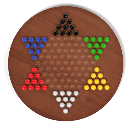 childern: 3d rendering of chinese checkers