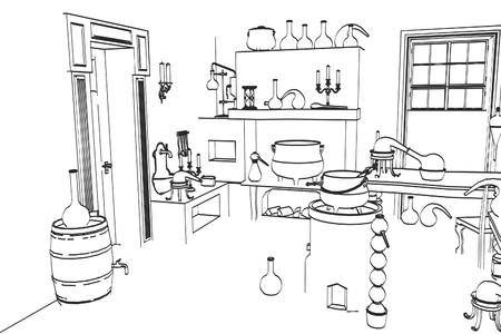alquimia: 2d ilustración de dibujos animados de laboratorio de la alquimia Foto de archivo