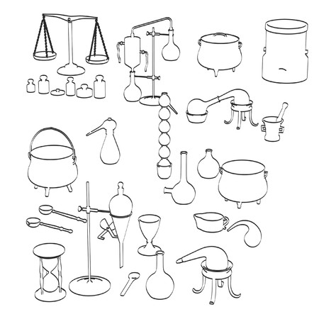 2d: 2d cartoon illustration of alchemy tools Stock Photo