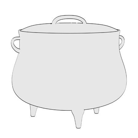 alchemy: 2d ilustración de dibujos animados de la olla de alquimia
