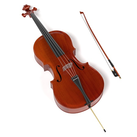violoncello: 3d rendering of cello musical instrument Stock Photo