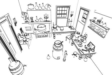 alquimia: 2d ilustraci�n de dibujos animados de laboratorio de la alquimia Foto de archivo