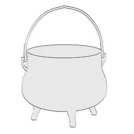 2d: 2d cartoon illustration of alchemy pot