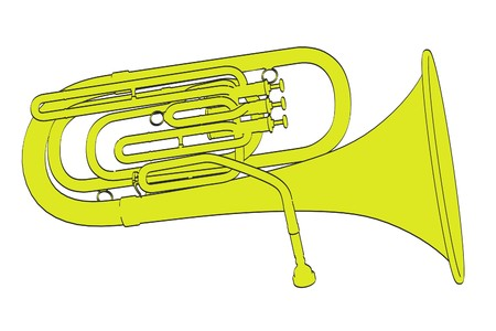brass wind: 2d cartoon illustration of tuba