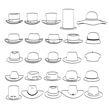 2d: 2d cartoon illustration of hats collection Stock Photo