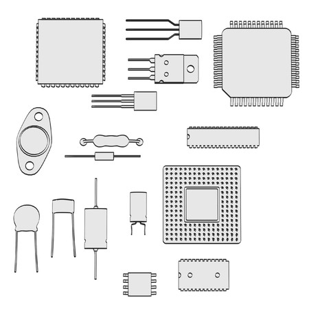 2d cartoon illustration of electronic parts
