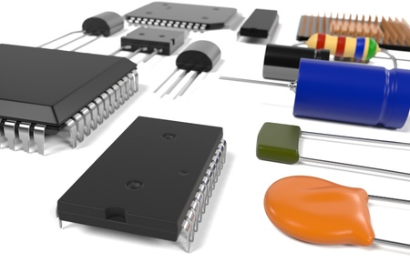 main part: 3d rendering of computer parts Stock Photo