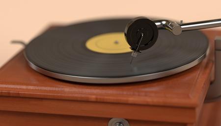 phonograph: 3d render of vintage gramophone