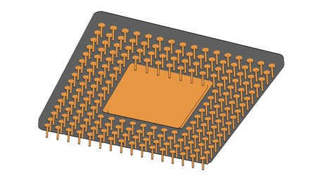 semiconductors: 2d cartoon illustraion of computer chip