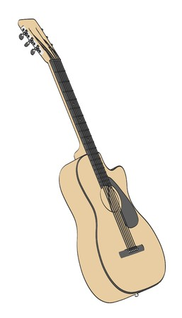 2d: 2d cartoon illustration of acoustic guitar