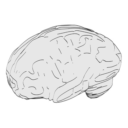 cns: 2d cartoon illustration of brain Stock Photo