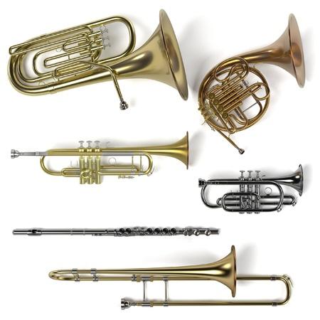trombone: 3d rendering of brass musical instruments Stock Photo