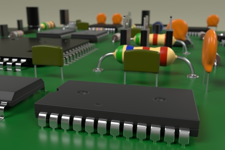 main part: 3d rendering of computer board Stock Photo