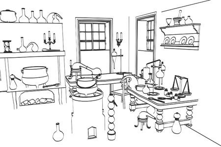 Illustration de bande dessinée 2d de laboratoire alchimie Banque d'images - 55668572