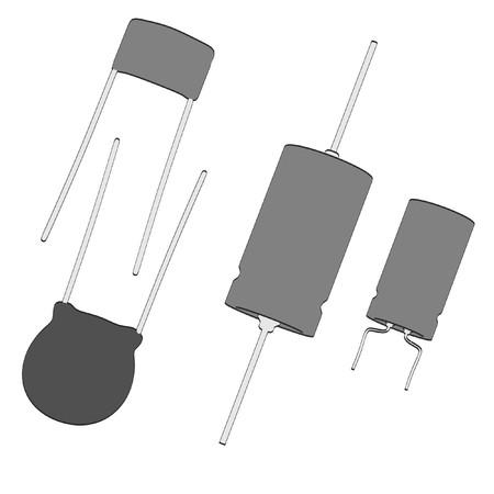 Capacitors: 2d cartoon illustraion of capacitors