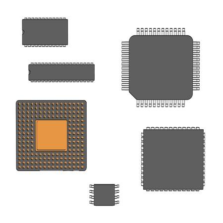 Illustraion 2d de dibujos animados de los chips de computadora Foto de archivo