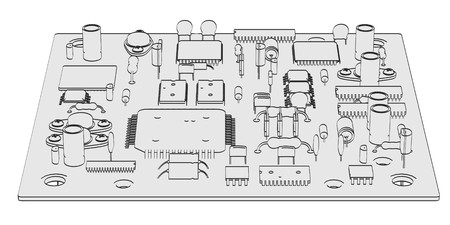 semiconductor: 2d cartoon illustration of electronic parts