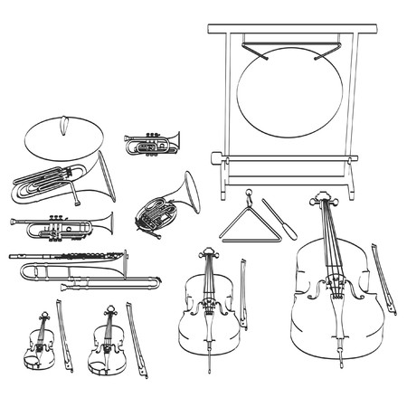 2d cartoon illustratie van muziekinstrumenten - orkest