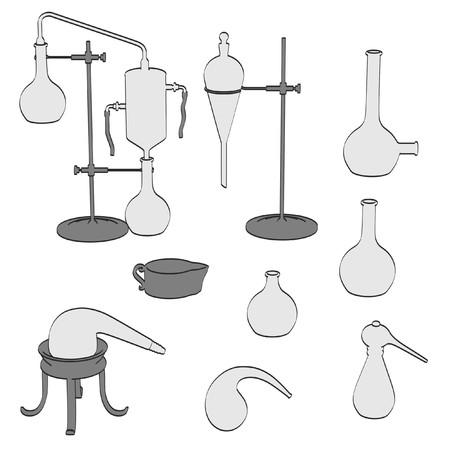 alquimia: 2d ilustraci�n de dibujos animados de herramientas de alquimia