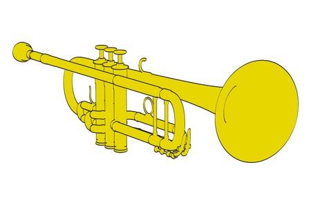 copper pipe: 2d cartoon illustration of trumpet Stock Photo