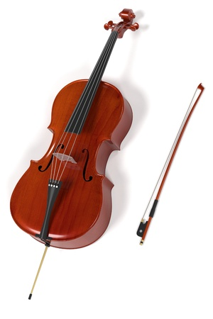 viola: 3d rendering of cello musical instrument Stock Photo