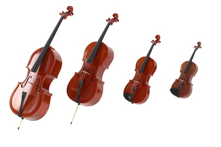 3d rendering of string musical instruments