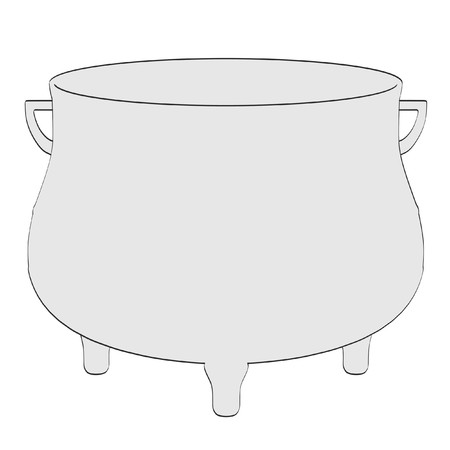 vials: 2d cartoon illustration of alchemy pot