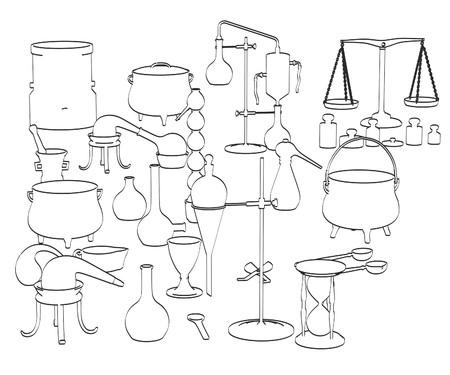 vials: 2d cartoon illustration of alchemy tools Stock Photo