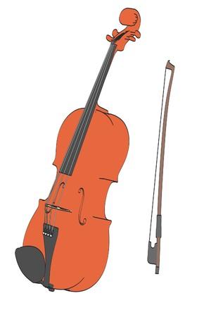 cellos: 2d cartoon illustration of violin