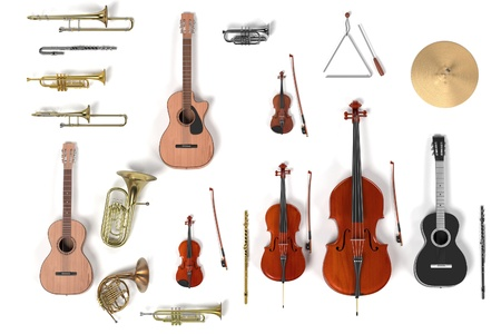 3D-renderings van muziekinstrument set Stockfoto