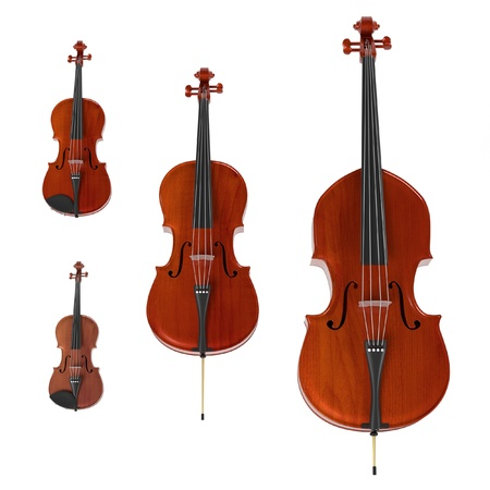 3d rendering of string musical instruments Stock Photo