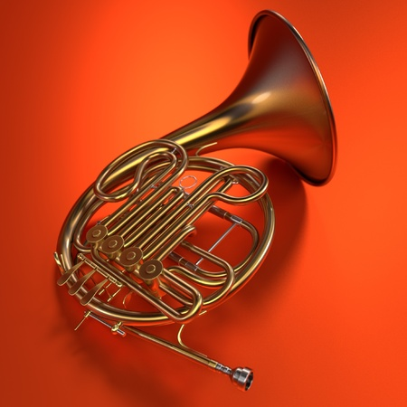 brass wind: 3d renderings of french horn
