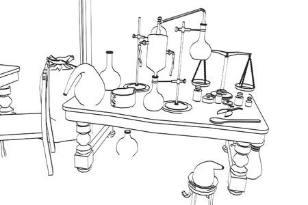 alchemy: 2d cartoon illustration of alchemy lab